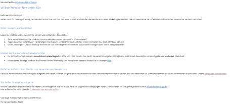 Willkommens Email Newsletter2Go