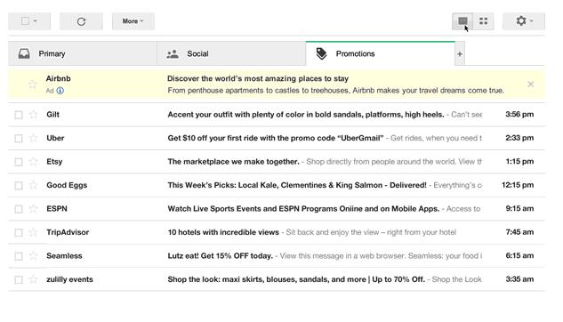 Google Mail Werbung-Tab in alter Ansicht