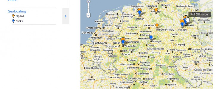Geolocating Statistik bei Newsletter2Go