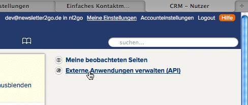 CentralStationCRM - Screenshot 1 - API-Key anzeigen