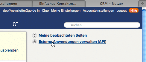 CentralStationCRM - Screenshot 1 - API-Key anzeigen