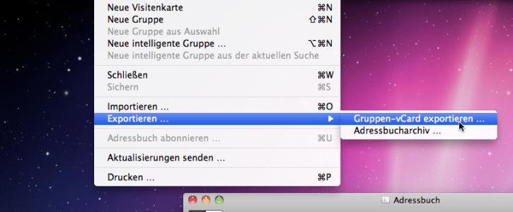 Empfänger exportieren - Screenshot 2 - Gruppen-vCard exportieren