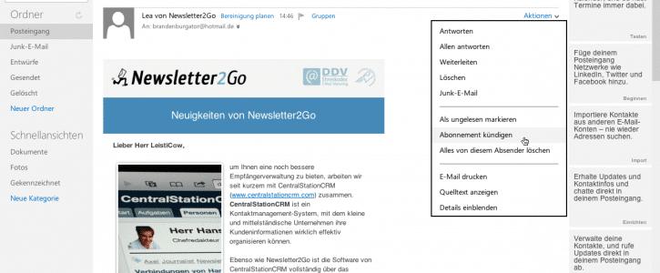 Outlook.com - Screenshot 4 - Abonnement kündigen