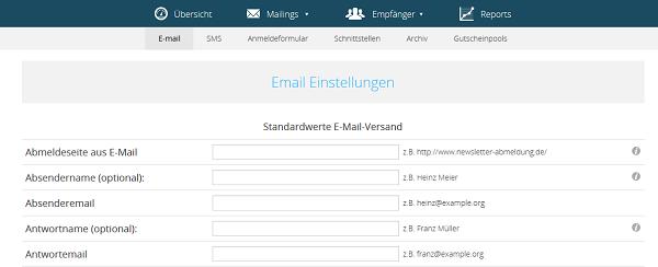 Absendernamen und Absender-E-Mail