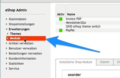 OXID-Shop-Integration