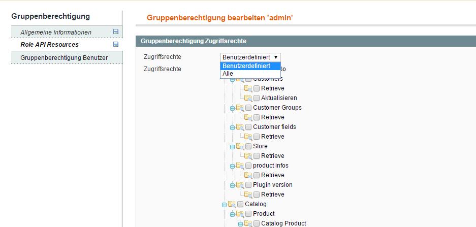 Adminrolle erstellen und konfigurieren