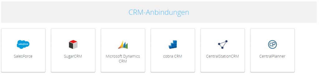 Screenshot CRM-Anbindungen