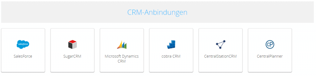 Screenshot CRM-Anbindungen