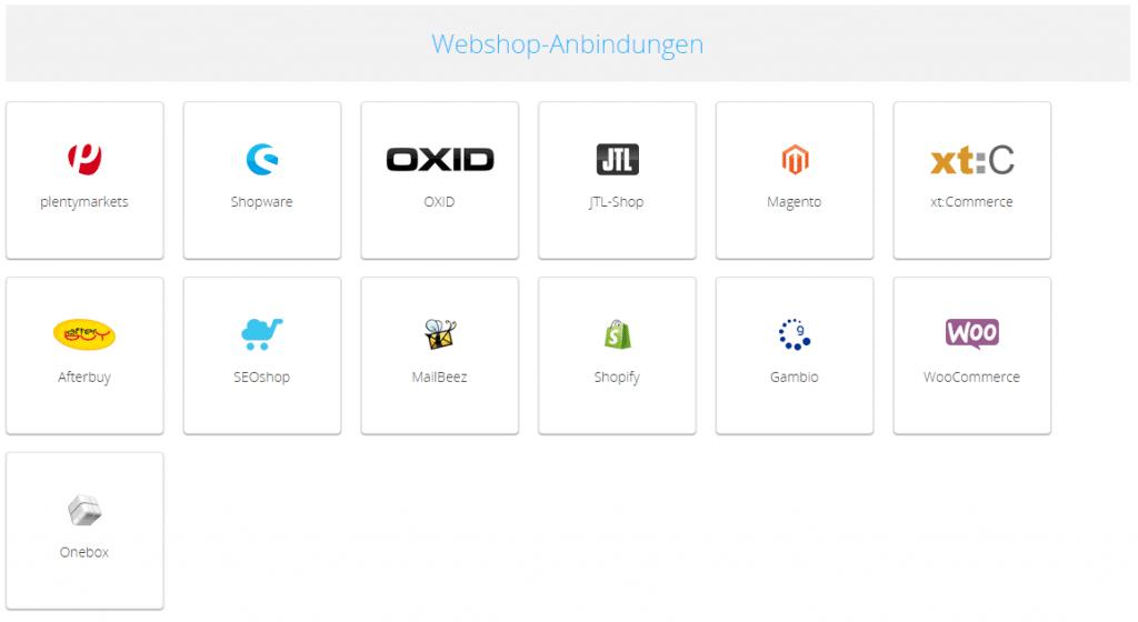 Screenshot Webshop-Anbindungen