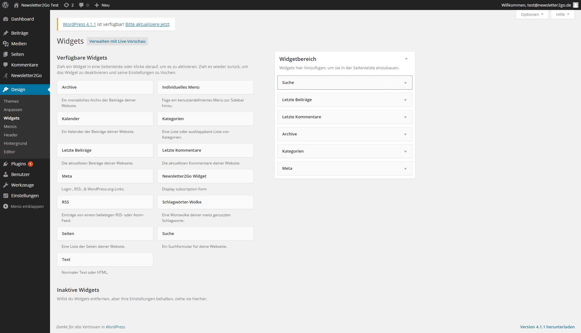 Wordpress Newsletter Plugin Widget