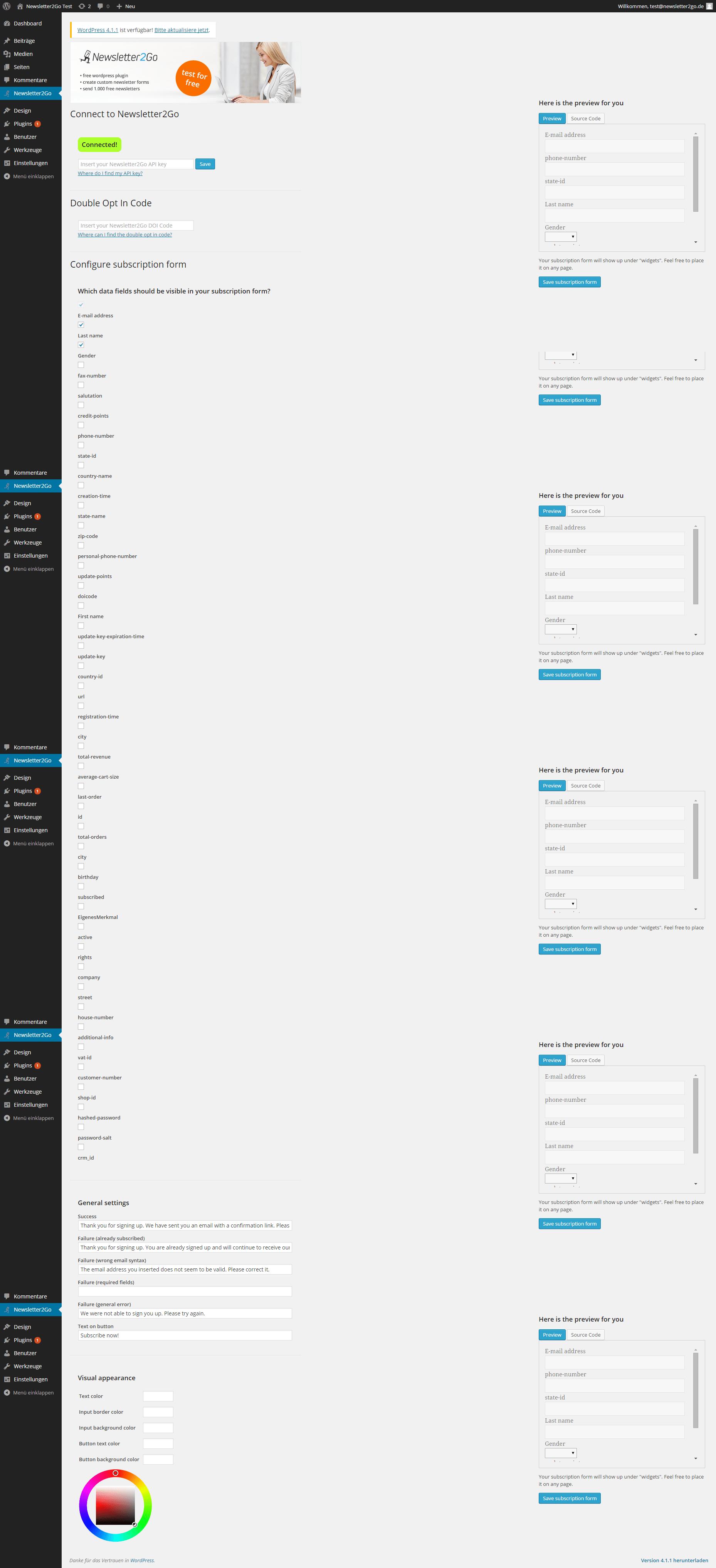 Wordpress Newsletter Plugin API Key