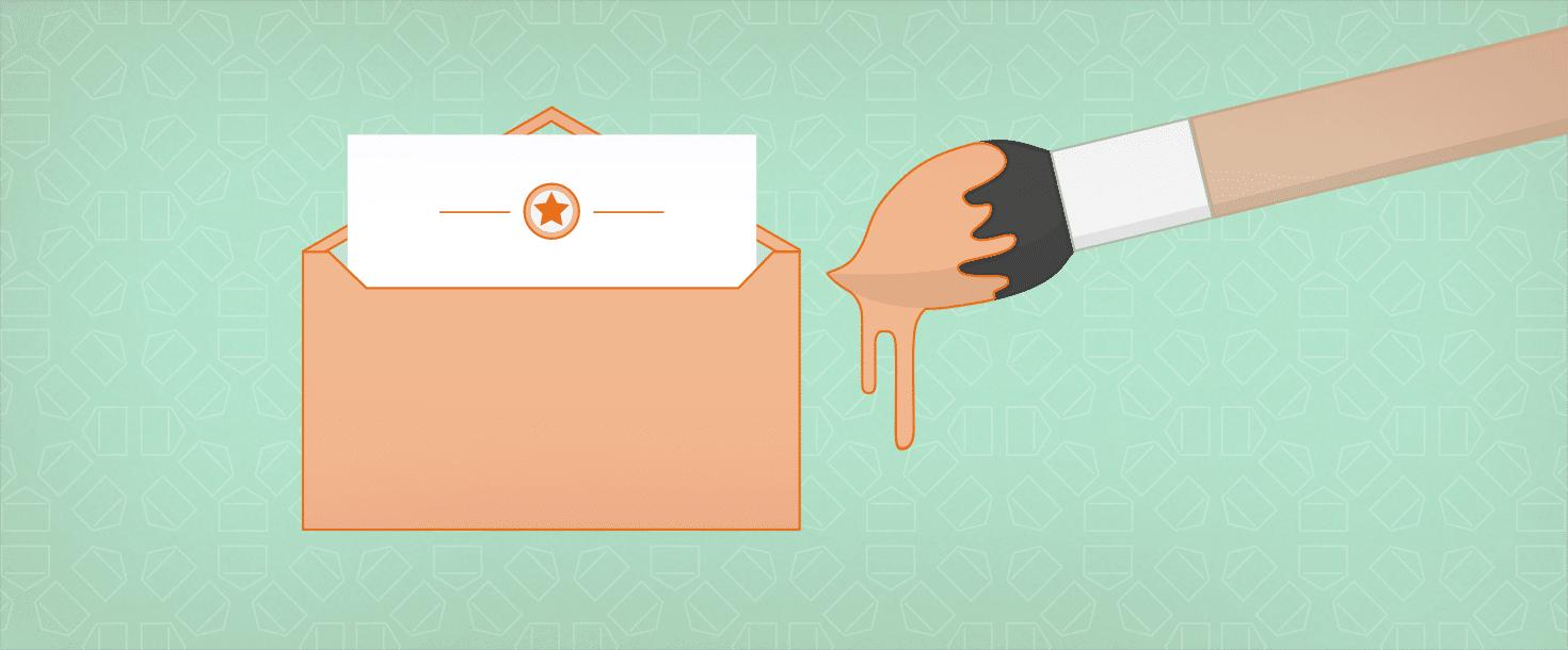 Briefumschlag und Pinsel, Design