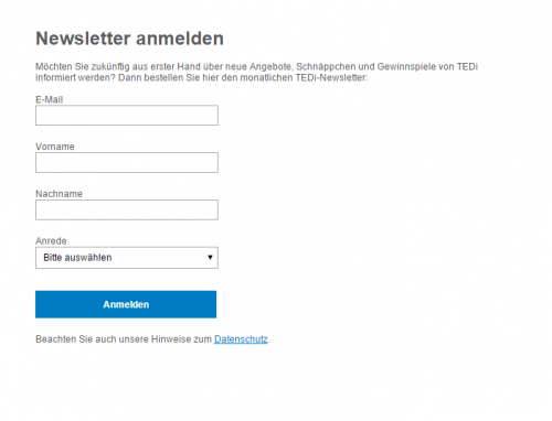 Newsletter-Anmeldeformular