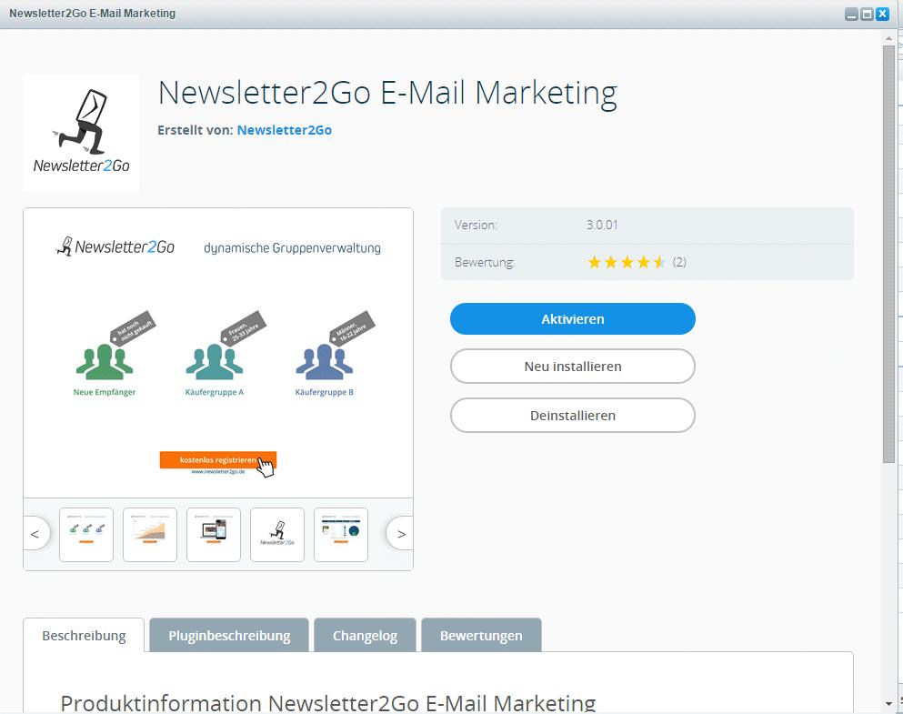 Shopware Newsletter Plugin aktivieren