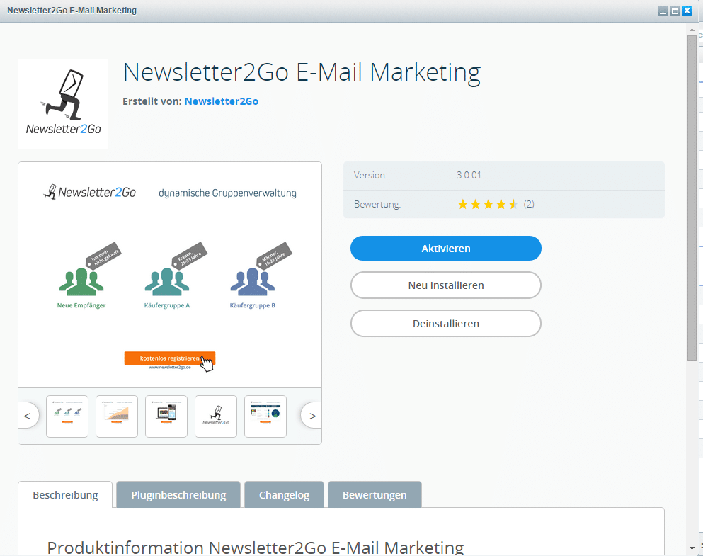 Shopware Newsletter Plugin aktivieren