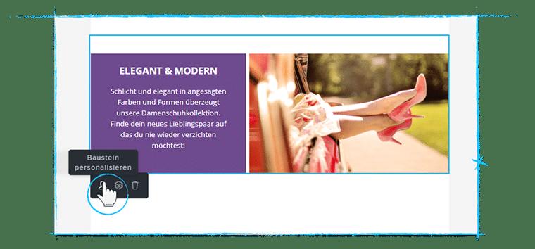 Baustein-Personalisierung bei Newsletter2Go
