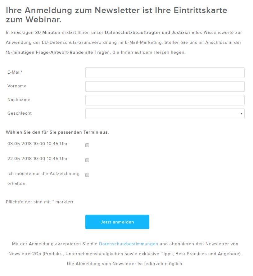 Datenschutz Grundverordnung Newsletter2go