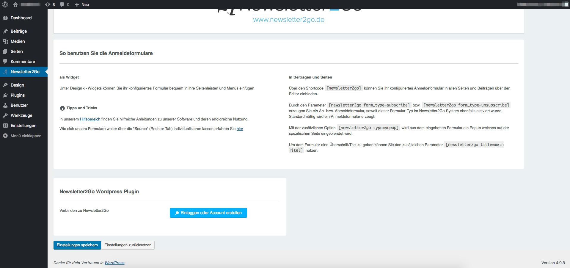 Newsletter2Go API Settings