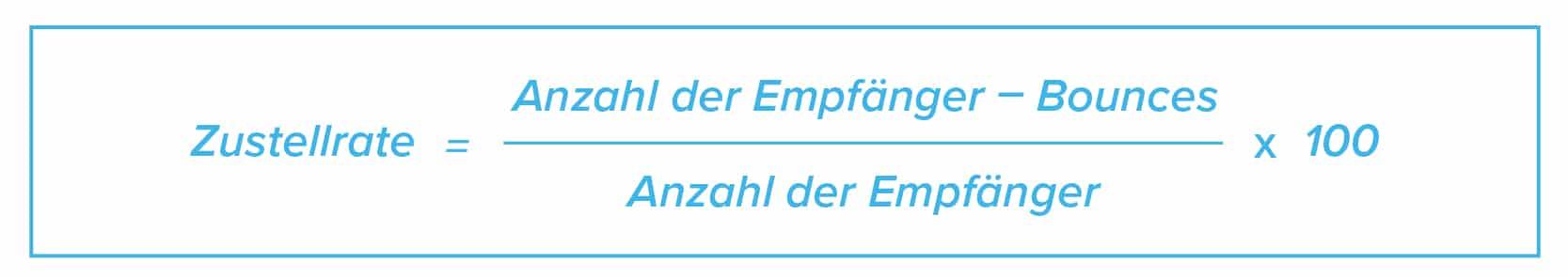 E-Mail Marketing KPIs Formel Zustellrate