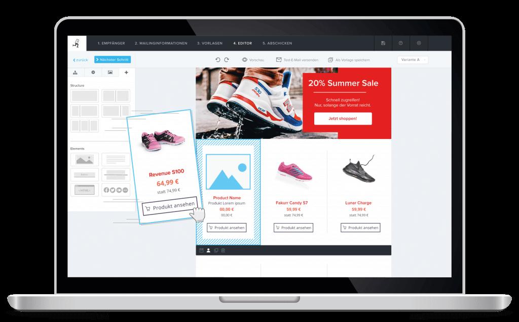 1-Klick-Produktübernahme - Vorschau in der Newsletter Software